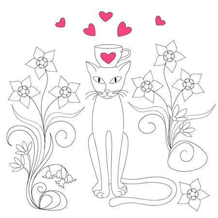 Gato De Dibujos Animados Con Taza, Flores Y Corazones Para San ...