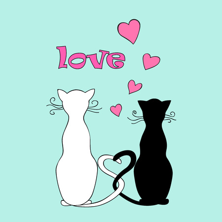 Isolated doodle couple cats with hearts and word love for Valentine greeting card, invitation, save date, wedding, holiday. Print for decorate t-shirt, tunic, bag, home, dishes.