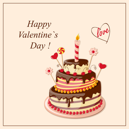 tier: Festive colorful greeting card with tier cake, hearts for Valentines Day, birthday, romantic holidays, invitation at the tea party, wedding.