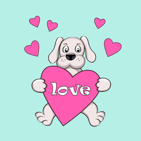 decorate notebook: Cartoon dog with hearts and word Love for Valentine greeting card, wedding, romantic holiday, decorate t-shirt, tunic, bag, notebook, dishes, wall art.