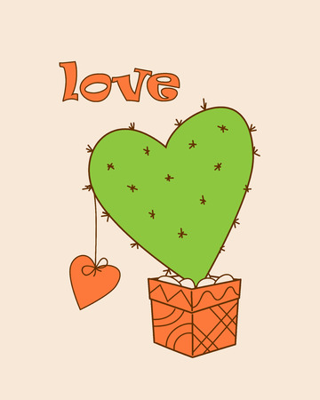february 1: Isolated doodle cactus in the pot and  word Love for Valentine greeting card, invitation, save date, wedding, holiday. Print for decorate t-shirt, tunic, bag, home, dishes.