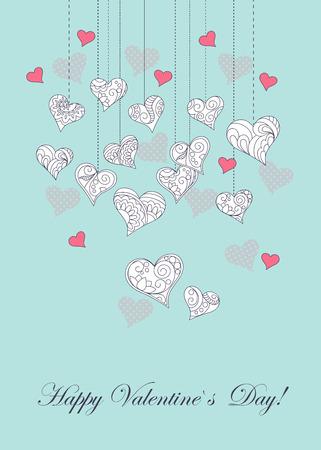 図面、観賞用心、愛という言葉、幸せなバレンタインの日、バレンタインのロマンチックな休暇の落書きとお祝いのロマンチックなカードは、日付  イラスト・ベクター素材