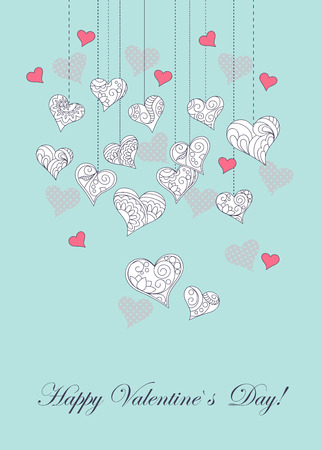 Festive romantic card with doodle drawing ornamental  hearts, word love, Happy Valentine`s Day for Valentine Day, romantic holidays, save the date, wedding, honeymoon.