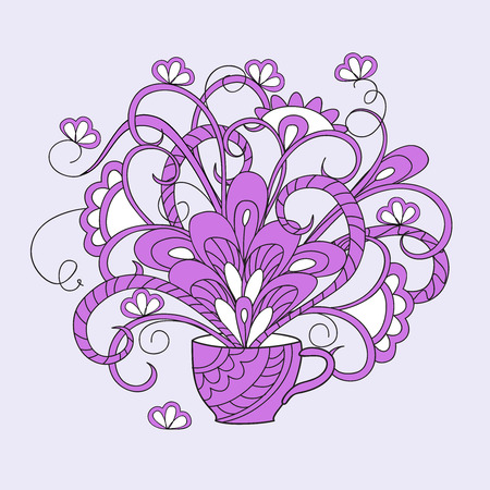 Hand drawn isolated composition in boho style with cup and flowers for decorate dishes, cup, porcelain, home, laptop skins, cases, stationery. eps 10.