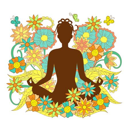 brown silhouette girl in yoga lotus pose with hand drawn floral pattern on backdrop for decorate visit card, posters yoga classes, courses, banners. eps 10.