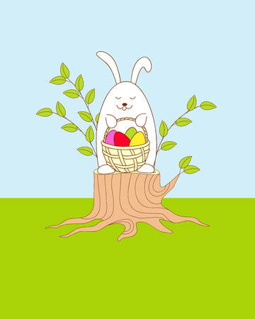 Easter bunny siting on the stump and keeping a basket with easter eggs. Illustration for greeting and invitation easter card, print for decorate. eps 10