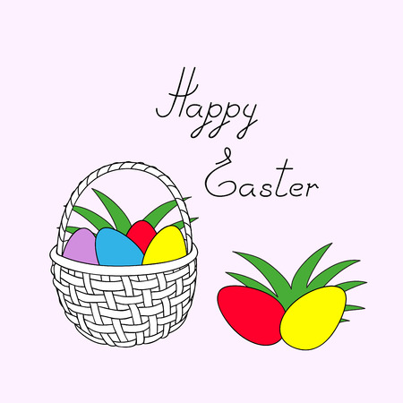 Greeting colorful easter card with basket, easter eggs and handwritten headline Happy Easter. Vector illustration. eps 10