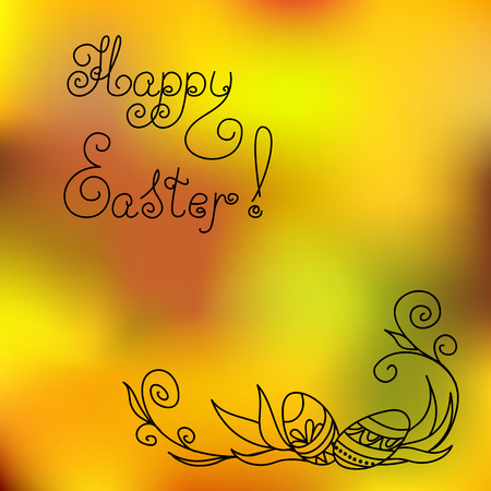Greeting vintage easter card with hand drawn ornamental easter eggs and handwritten headline Happy Easter. Illustration