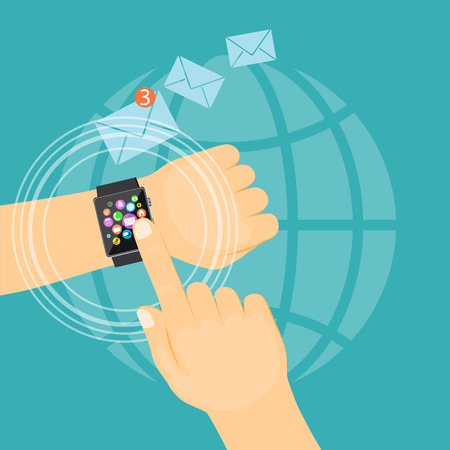 Flat modern vector illustration business concept  with man hand showing e-mail on the smart watch. eps 10. Illustration