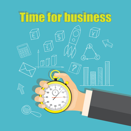 Flat modern vector illustration business concept with stopwatch in the hand of businessman and hand drawn business icons. eps 10. Illustration