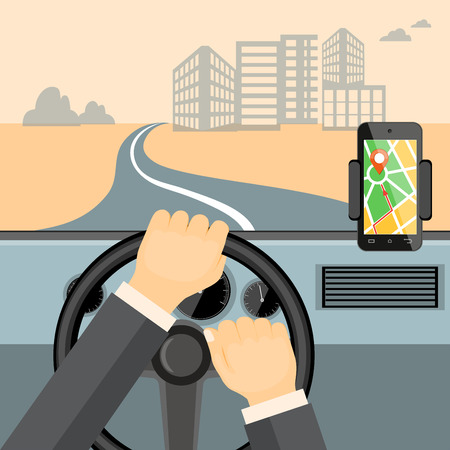 Flat modern vector illustration mobile gps app on the mobile phone with map,  pointer and driver hands on the steering wheel of the car. eps 10.