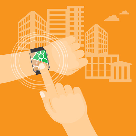 Flat modern vector illustration gps app  on the smart watch on the hand of man with map on the city background. eps 10.