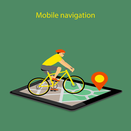 gps device: Flat modern vector illustration mobile gps app on tablet with map,  pointer and riding bike. eps 10. Illustration