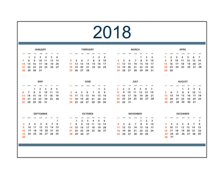 Business english calendar for wall on 2018 year.  Week starts on Sunday.