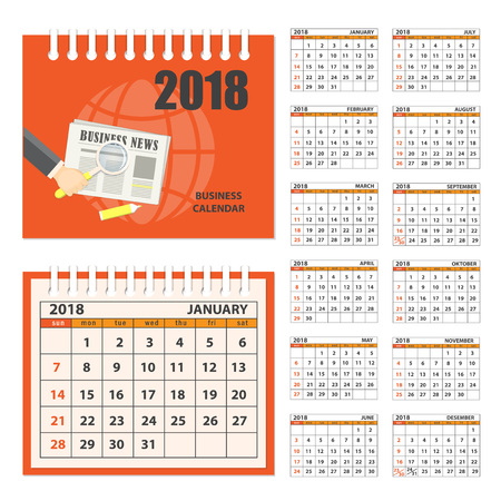 time account: Business english calendar for desk on 2018 year. Set of the 12-month isolated pages with image on the cover. Week starts on Sunday. eps 10 Illustration