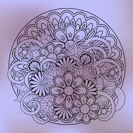 Hand drawn transparent doodle composition of the flowers with mandala for  fabric print, wall art and decoration. eps 10.