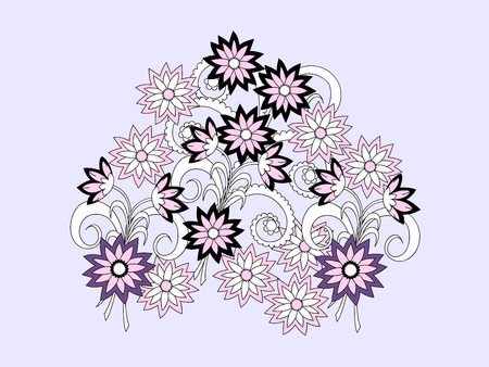 decorate notebook: Hand drawn doodle composition of the flowers for decorate dishes, t-shirt, tunic, bags, case, notebook, stationery, fabric print. eps 10. Illustration