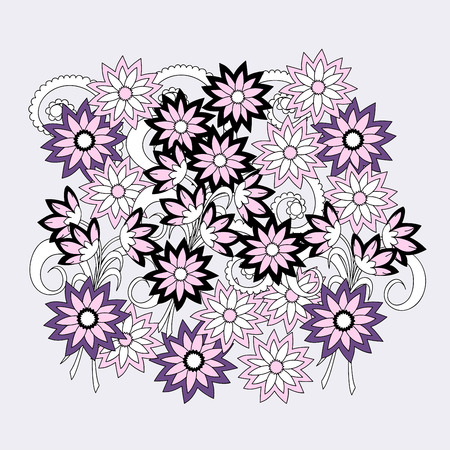 decorate notebook: Hand drawn doodle composition of the flowers for decorate dishes, t-shirt, tunic, bags, case, notebook, stationery, fabric print, wall art. eps 10. Illustration