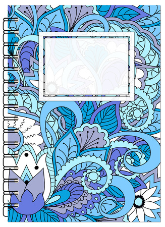 Hand drawn tangled zen pattern with mandalas and flowers for decorate book, notebook, case, stationery. Mock up of the notebook. A5 template. EPS 10.