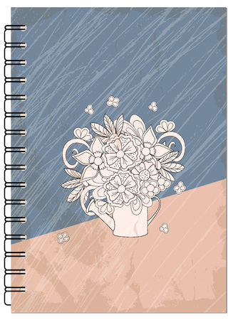 Hand drawn abstract retro design with bouquet for decorate book, notebook, case, stationery. Mock up of the notebook. Cover A5 template. EPS 10.
