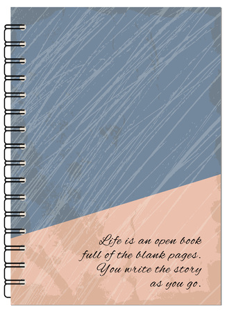 book case: Hand drawn abstract retro design  for decorate book, notebook, case, stationery. Mock up of the notebook. Cover A5 template. EPS 10.
