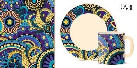 porcelain plate: Hand drawn colorful pattern with flowers and mandalas in zen style for decorate kitchenware, cup, dishes, porcelain, stationery. Mock-up cup and saucer. eps 10.