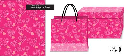 Seamless romantic pattern with hand drawn ornamental hearts for valentine pack paper, packing gift, fabric clothes. Mock-up paper bag and gift box. eps 10.