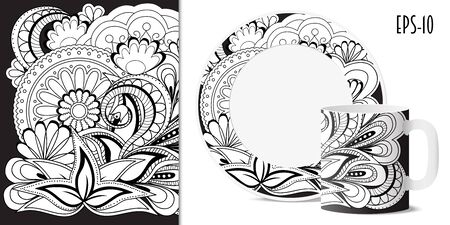 porcelain plate: Hand drawn  pattern with mandalas in zen style for decorate kitchenware, cup, dishes, porcelain, stationery.