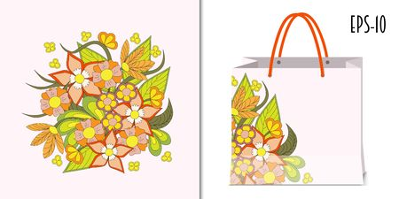 Hand drawn doodle floral composition in boho style for decorate dishes, t-shirt, tunic, bags, case, notebook, stationery, fabric print. Mock-up paper bag. eps 10.