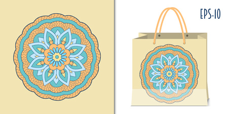 Hand drawn   zen-like mandala  for decorate dishes, t-shirt, tunic, bags, case, notebook, stationery, fabric print. Mock-up paper bag. eps 10.