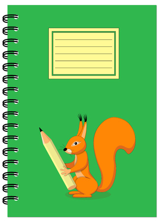note booklet: Cover design with squirrel holding pencil for tutorial cover, notebook, sketchbook, album, copybook. Cover A5 template and empty space. EPS 10.