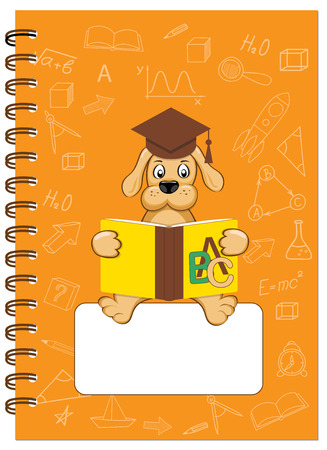 Cover design with reading puppy and hand drawn education icons and symbols for tutorial cover, notebook, sketchbook, album, copybook. Cover A5 template and empty space. EPS 10.