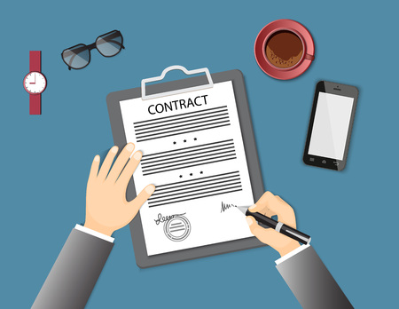 signing: Businessman signing a contract. Flat concept of business financial agreement, management, marketing. Top view the workplace, man hand holding a pen, paper document with sign, mobile phone, coffee. EPS 10