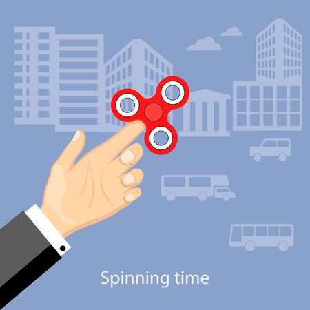 spinning: Flat modern design concept of playing with fidget hand spinner. Illustration of the hand of the businessman with hand spinner. eps 10.