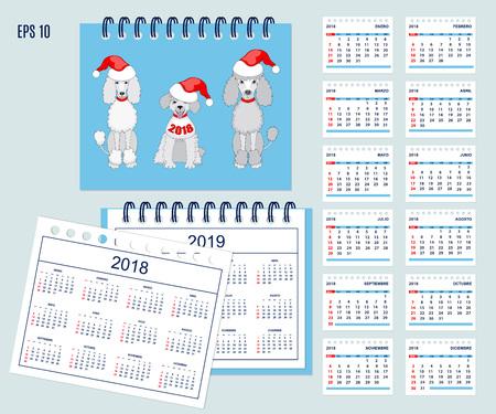 Conjunto De Calendario Americano De Los Niños Para El Año De ...