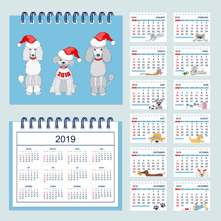 calendar design: Set of kids american calendar for desk year 2018 with 12-month isolated pages with funny cartoon dogs on pages and cover. Isolated calendar year 2019. English language. Week starts on Sunday. eps 10