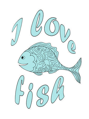 Hand drawn cartoon patterned fish. Banner, t-shirt print with text I love fish. eps 10.