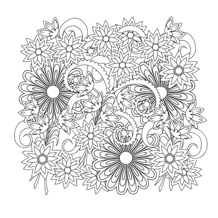 Hand drawn doodle composition with flowers for  greeting card, clothes print, decorate stationery, case phone, dishes, porcelain, ceramics, adult antistress coloring book. eps 10 Illustration