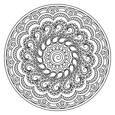 Mandala with hand drawn geometric elements in Arabic, Indian, turkish, pakistan, tribal motifs. Image for anti-stress therapy, adult coloring books, tattoo, decorate plates, porcelain, ceramics, crockery. eps 10