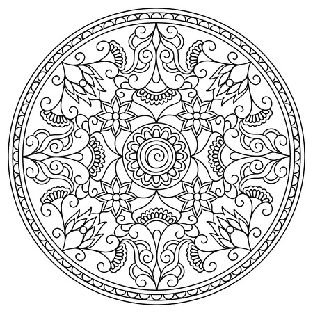 hand print: Mandala with hand drawn elements in Arabic, Indian, turkish, pakistan, tribal motifs. Image for anti-stress therapy, adult coloring book, tattoo, decorate plates, porcelain, ceramics, crockery. eps 10 Illustration