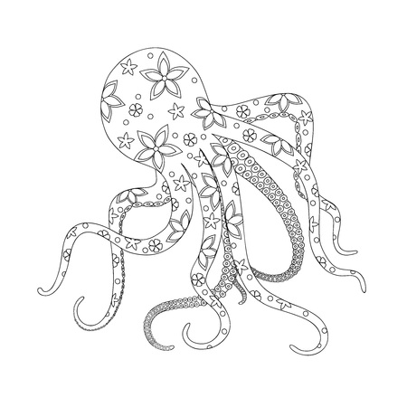 Isolated octopus with floral pattern for kids coloring book, album, tutorials, design for logo, decorate stationery, notebook, t-shirts print. Black and white outline illustration. eps 10