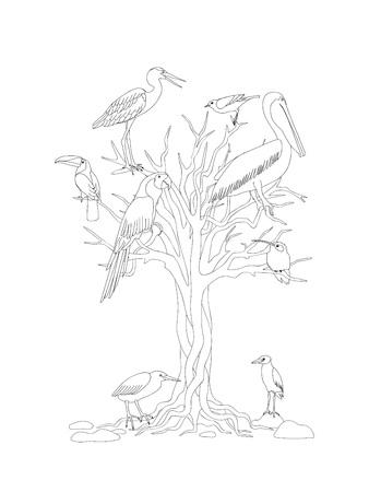 Malvorlagen Mit Hand Gezeichneten Cartoon Katze Eule Und Baum Für