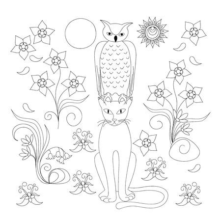 Malvorlagen Mit Hand Gezeichneten Cartoon Katze, Eule Und Baum Für ...