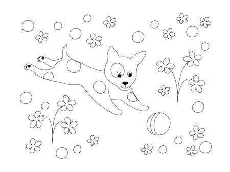 Página Para Colorear Con Cachorro De Dibujos Animados Lindo Entre ...