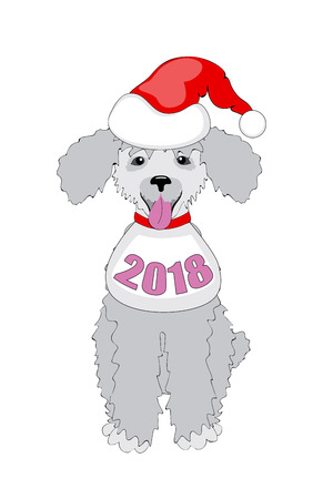 Symbol year 2018 funny cartoon puppy poodle with number 2018 and santa hat. Isolated on the white background. eps 10