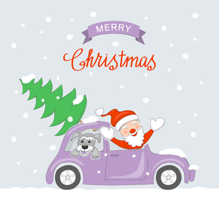 Christmas card with cartoon santa claus and dog traveling in the retro auto and  text Merry Christmas on the snow  background.