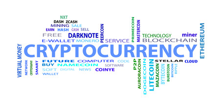 """Word cloud related to bitcoin, cryptocurrency, virtual money and transactions; word """"cryptocurrency"""" emphasized. EPS 10."""