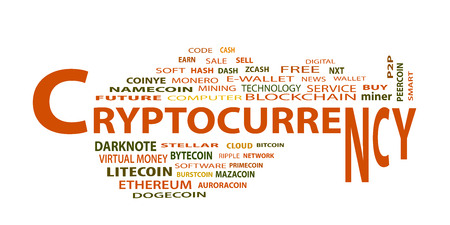 Word cloud related to bitcoin, cryptocurrency, virtual money and transactions; word cryptocurrency emphasized. EPS 10.