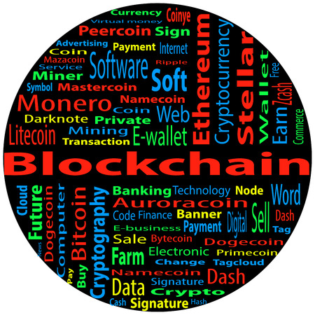 """Word cloud related to bitcoin, cryptocurrency, virtual money and transactions; word """"blockchain"""" emphasized. EPS 10."""