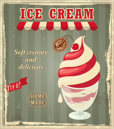 Green vintage banner with realistic ice cream in the glass bowl and cherry. Letters ice cream, shop or store symbol and label with text best quality.